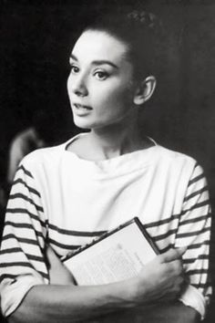audrey hepburn and breton stripes. Breton Shirt, Breton Top, Stripe Top, Summer Stripes, Red Stripes, December 2013, Marlene Dietrich, Brigitte Bardot, Audrey Hepburn Style