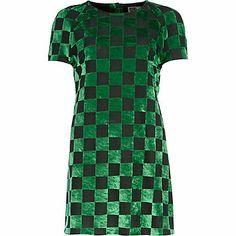 Green Chelsea Girl checkerboard t-shirt dress $30.00