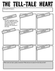 """The Tell-Tale Heart"" by Edgar Allan Poe Reading Activity Packet. Includes vocabulary, before, during, and after-reading activities, and answer key."