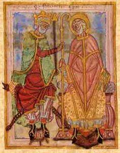 Dagobert Ier restaure l'évêché de Thérouanne et l'attribue à Audommar, futur saint Omer Le roi Dagobert et st Omer, d'après une miniature du IX°s extraite de la Vide de St Omer. La main du roi, posée sur la crosse de l'évêque, semble symboliser l'alliance entre l'Eglise et la royauté.
