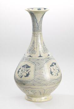 Bottle Vase (Yu-hu chun). Vietnam, late 15th century.  Slip-covered stoneware with underglaze cobalt blue decor.  The Minneapolis Institute of Arts