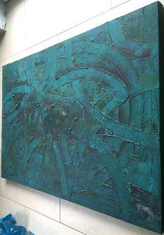 Acrylbild Leinwand 100 x 70 x 4 Grün blaue von BeGehrLich auf Etsy