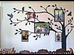 easy & DIY Wall painting family Tree art design for photo frames - YouTube Wall Designs For Hall, Family Tree Art, Diy Wall Painting, Easy Diy, Frames, Beautiful, Youtube, Home Decor, Decoration Home