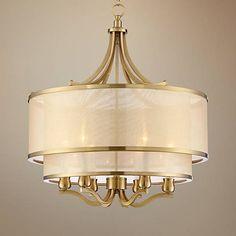 Possini Euro Nor Wide Warm Antique Brass Pendant - Dining Room Light Fixtures, Hanging Light Fixtures, Dining Room Lighting, Hanging Lights, Chandelier Lighting, Chandeliers, Room Lights, Drum Pendant, Light Pendant