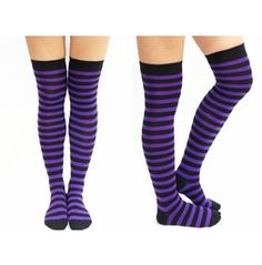 Purple & Black Striped Gothic Thigh High Socks
