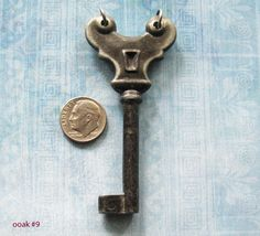 White Brass KEY Antique Gothic Medieval Lock Key
