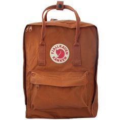 Fjällräven kanken classic brick ($95) ❤ liked on Polyvore featuring bags, rucksack bag, lightweight bags, pocket backpack, shoulder strap backpack and logo bags