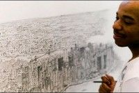 Stephen Wiltshire, autistic savant artist, drawing the NYC skyline from memory. Just Amazing, Amazing Art, Stephen Wiltshire, Disability Art, Autistic Artist, Ny Skyline, Cool Artwork, The Incredibles, Black And White