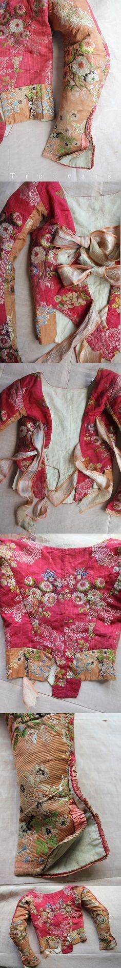 18th c French Silk Caraco with Ribbons, Paris. Original silk ribbons to close at…