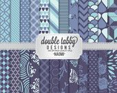 Digital scrapbook paper pack INSTANT DOWNLOAD - blue, purple, teal, chevron, stripes, argyle, damask, floral Naomi
