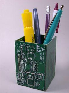Circuit Board Pencil Holder and Desk Organizer    http://www.etsy.com/shop/debbyaremdesigns