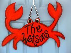Happy Wood Crab Door Hanger Coastal Summer by GoodnessGraceUs, $40.00