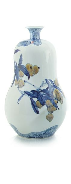 [CasaGiardino]  ♛  Blue and White Pear Shapred Vase