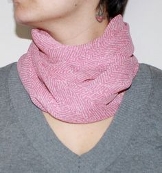 Popular infinity scarf cowl in watermelon and cream by PaulaMadeIt, $12.00