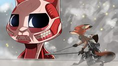 *watches Attack on Titan once* The scene where the colossal titan reappears is a pretty badass moment in AoT. So I decided to experiment with a differen. (Attack on Titan Crossover) Attack On Titan Crossover, Watch Attack On Titan, Judy Hops, Disney Crossovers, Cartoon Crossovers, Zootopia Nick And Judy, Zootopia Art, Furry Art, Disney Pixar