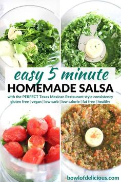 This easy homemade salsa recipe is a Texas restaurant-style red salsa that's bursting with fresh flavor and takes 5 minutes to make! It has that perfect consistency and at only 25 calories per serving it's a healthy way to add flavor to tacos, burritos, or dip tortilla chips into.