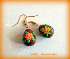 Orecchini in #fimo handmade Uova di Pasqua con fiori idea regalo , by Chiara - Creazioni in fimo, 7,00 € su misshobby.com