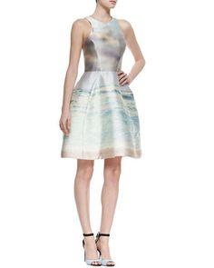 T9NXL Monique Lhuillier Seascape-Print Iridescent Fit-And-Flare Dress