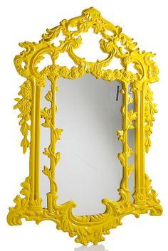 Baroque Mirror, Yellow Gloss - Interiors Online