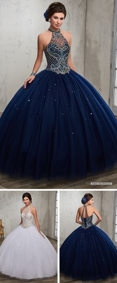 Mary's Quinceanera Style 4Q503 • Tulle quinceanera ball gown features halter jewel neck line, beaded bodice, basque waist line, bead embellished skirt, lace-up closure, and matching bolero.