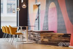 Coalesse Capa and Enea Lottus tables. Quicken Loans, photo courtesy of pop@dpopculture.com