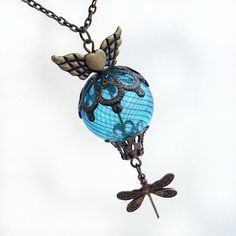 Whimsical Flight - Hot Air Balloon Pendant Necklace Jewelry Jewellery. $45.00, via Etsy.