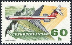 Sello: Iljuschin II 62 (Checoslovaquia) (50 Years Of Aviation) Mi:CS 2167,Sn:CS C78,Yt:CS 2012,AFA:CS 2011,POF:CS L75