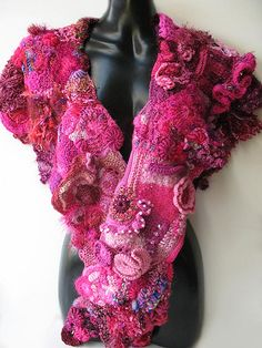 Shawl for Pink Project Auction - front view by freeform by prudence, via Flickr    Nice work!