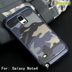 Fashion Camo Phone Case For Samsung Galaxy Note 4 Hybrid Plastic and TPU Hard Cover Camouflage Style Armor Protector N9100 Shell