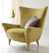 Chair in Sanderson: Orlando Velvet 231050 Sofa Design, Cool Furniture, Furniture Design, Sanderson Fabric, Comfy Sofa, Comfy Armchair, Reupholster Furniture, Fabric Sofa, Curtain Fabric