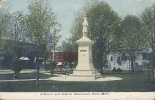 PHOTO   HART Michigan Soliders Monument  1911  Stamp  ALBION Mi.  OSTRANDER