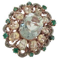 Luise Green Amethyst Topaz Diamond Silver Gold Ring | From a unique collection of vintage cluster rings at https://www.1stdibs.com/jewelry/rings/cluster-rings/