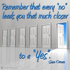"""Inspirational quote:  """"Remember that every 'no' leads you that much closer to a """"yes"""".  ~Suze Orman"""