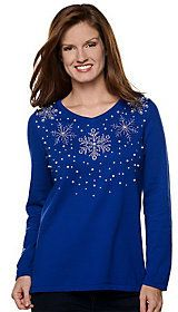 As Is Quacker Factory Long Sleeve Snowflake Pearl Sweater.  affiliate