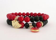 Elegant Gemstone Set of Bracelets, Red and Black Set of Bracelets with Gold Tone Elements, Summer Bracelets