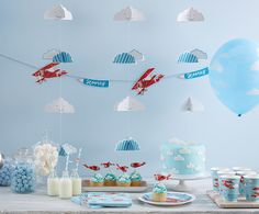 Kindergeburtstag Flugzeuge   mummyandmini.com  kidsparty sweet table