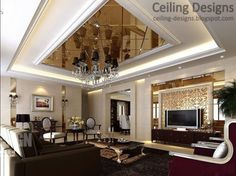 ceiling design with mirrors | luxurious tray ceiling design for living room with mirror ceiling ...