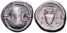 AR Stater. Greek, Boaotia, Thebes, Damokl- magistrate. Circa 363-338 BC. 21mm, 12,03g. Hepworth 26. Good VF. Price realized (2.7.2016): 226 EUR.