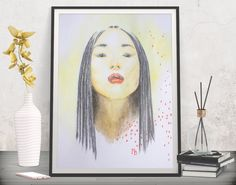 Add oriental flavor to your collection! Fashion poster print - Printable art by FraBor Art.