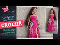 Crochet Modern Dress for Dolls (portuguese/spanish) Doll Clothes Barbie, Crochet Doll Clothes, Crochet Toys, Barbie Dolls, Strapless Dress, Prom Dresses, Formal Dresses, Doll Videos, Barbie Patterns
