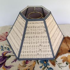 Uno quilt lamp shade lampshade vintage calico fabric shade for music lamp shade hurricane lampshade for chimney lamp 5t x 12b x 7h dark gray trim vintage sheet music mozeypictures Gallery