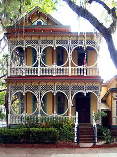 """""""Gingerbread House"""" in Savannah GA, Beautiful on its own, but what a great pallette for decorating. Huh??"""