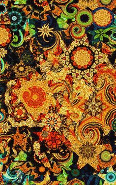 Artist Created UNIQUE Cotton Fabric Large Panel by jacquedesigns