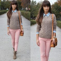 Brown Sweater over Jeans Button Up with Statement Necklace, Pink Pants & Brown Boots.