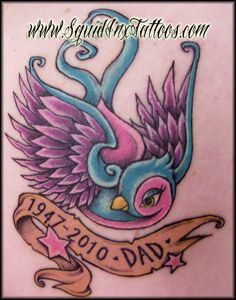 Tim Burton meets Disney style memorial swallow tattoo