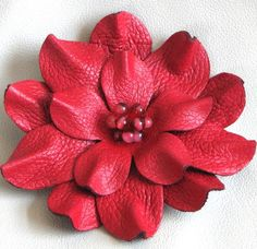 Flower leather pin brooch/hair clip/fascinator by Leatherblossoms Leather Accessories, Leather Jewelry, Leather Craft, Diy Leather Flowers, Leather And Lace, Beaded Flowers, Fabric Flowers, How To Make Leather, Flower Template