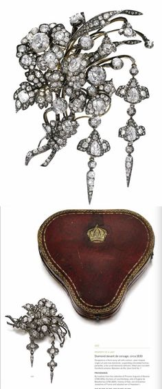 Devant de corsage, thought to have belonged to Princess Augusta of Bavaria. Floral spray set with single, cushion, rose and pearshaped diamonds. Image Sotheby;s, more infor on the image itself.