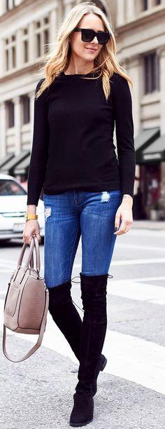 #fall #trending #street #outfits   Black + Denim