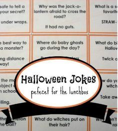 23 Halloween Jokes for Kids. Pumpkins, witches and monsters. What spooky creatures could make better Halloween jokes for kids? Here are 23 printable jokes! Casa Halloween, Halloween Class Party, Halloween Jokes, Halloween Activities, Holidays Halloween, Halloween Treats, Halloween Costumes, Halloween Stuff, Logan Halloween