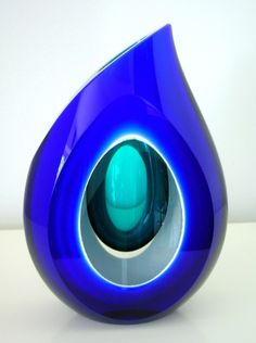 'Abyss' Art-Glass Vessel by Petr Bures - Signed by artist | D:230mm high x 160mm…